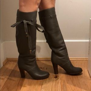 Chloe leather bow boots
